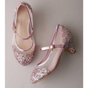 Chasing Fireflies Girls Pink Mesh Glitter Heels